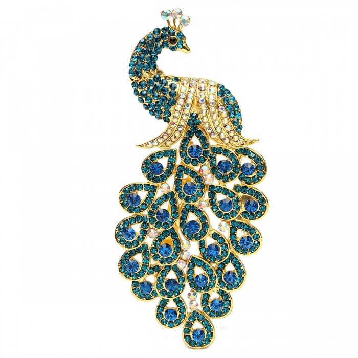 vintage gold plated peacock bird blue crystal bird brooches pin