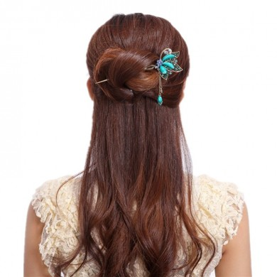 Unique Women Hair Accessories Vintage Butterfly Rhinestone Turquoise Tassel Hairpin