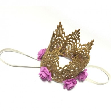 Lace Crown Rose Flowers Children Party Hat Princess Decoration Headband