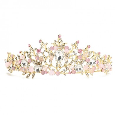 Rosa Casamento Bridal Jewelry Crystal Tiara Crown Headband Headpiece Brincos Conjunto