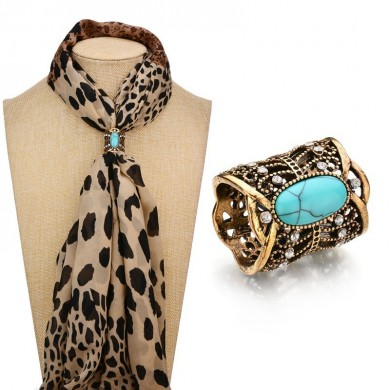 Vintage Antique Silver Gold Color Scarves Buckle Turquoise Rhinestone Shawl Buckle Elegant Brooch
