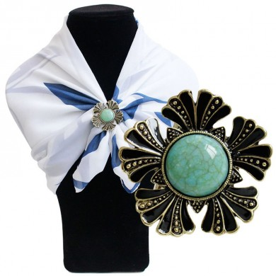 Vintage Turquoise Scarf Buckle Clothing Accessories Shawl Buckle Flower Enamel Brooch for Women