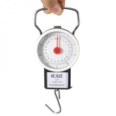 2 in 1 22KG 50LBS Portable Scale Luggage Travel Scale Hanging Suitcase Hook with 1M Flexible Rule