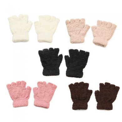 Women Girl Soft Coral Fleece Gloves Fingerless Pure Color Short Mittens