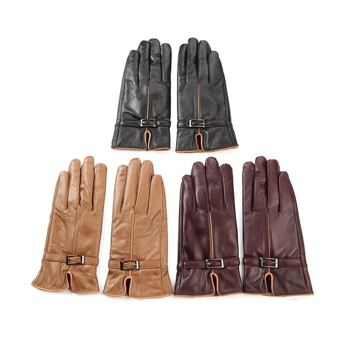 Women Female Artificial Leather Driving Buckle Gloves Riding Wind proof Warm Mittens