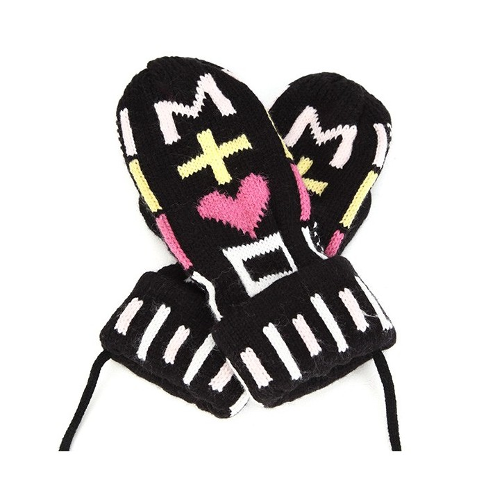 Women Girl Winter Knitted Golves Cute Cartoon Heart Pattern With Rope Thick Mittens