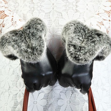 Women Ladies Rabbit Fur Artificial Leather Screen Touch Windproof Gloves Dacron Linen Mittens
