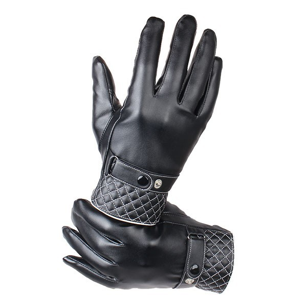 Men Women Couple Artificial Leather Buckle Gloves Windproof Driving Cycling Mittens