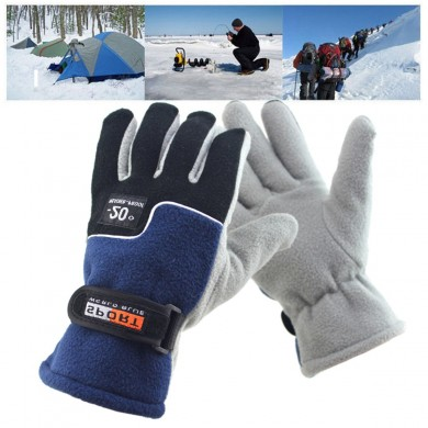Unisex Thermal Fleece Driving Golves Outdoor Sports Cycling Magic Tape Adjustable Mittens