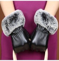 Women Ladie Faux Fur Artificial PU Leather Screen Touch Windproof Gloves Mittens