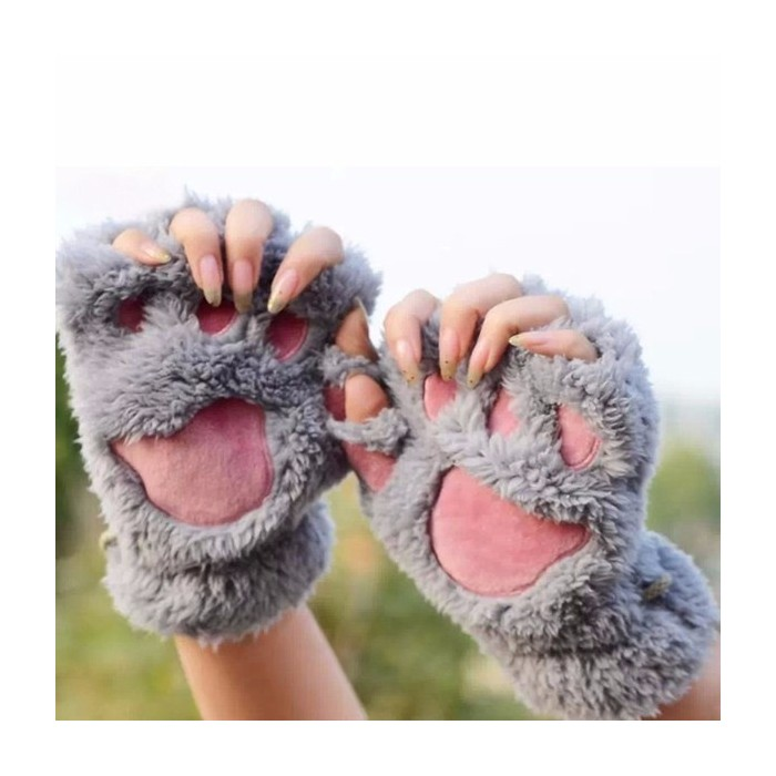 NEW DARK GREY Ladies Womens Girls Fluffy Fingerless Winter Gloves One Size