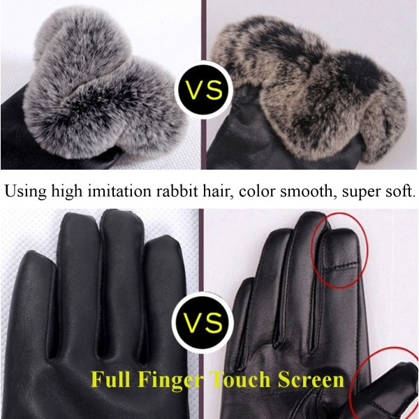 Women Ladies Fur PU Leather Gloves Screen Touch Windproof Driving Mittens