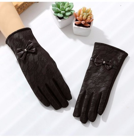 Women Ladies Touch Screen PU Leather Gloves Lace Mesh Fabric Butterfly Gloves Velvet Warm