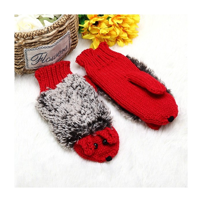 Women Cartoon Hedgehog Gloves Knitting Thickening Cute Mouse Gloves Winter Girls Finger Mittens