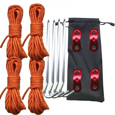 Outdoor Camping Tent Accessories Set 4m Reflective Rope Aluminum Alloy Buckle With Storage Bag