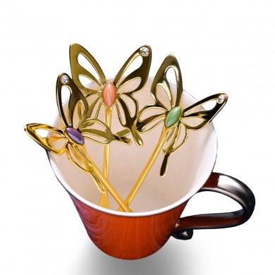 KCASA Tea Spoon Three-dimensional Butterfly Creative Design Elegant Aluminum Alloy Coffee Tea Spoon