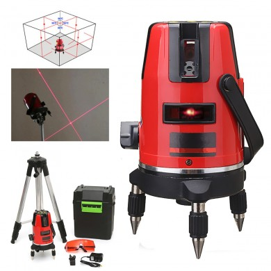 5 Lines 6 Points Professional Waterproof Laser Level Red Automatic Level 360 Rotating Outdoor Mode