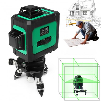 Green 3D 12 Line 360 Laser Level Auto Self Leveling Vertical Horizontal Level