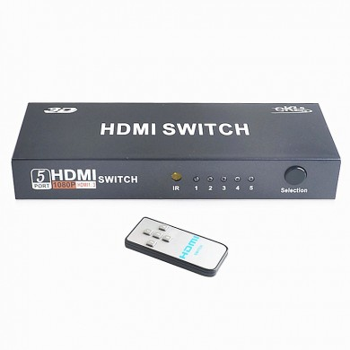 EKL 5 Input 1 Output 3D 1080P 60Hz HDMI Switch Video Switcher Adapter with IR Control