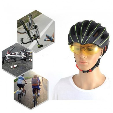 RockBros Goggles Helmet Cycling Mountain Bike Bicycle Helmet With Sunglasses Lens