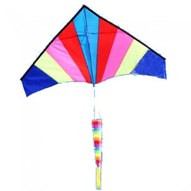 Outdoor Multicolor Nylon Triangle Flying Kite With 100M Line
