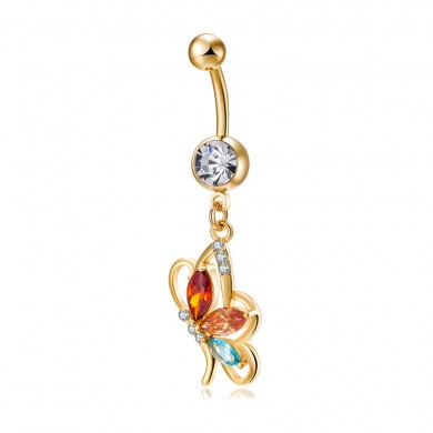 Sexy Belly Butterfly Anelli Fashion Body Jewelry Colorful Anello strass Zirconia Piercing per le donne