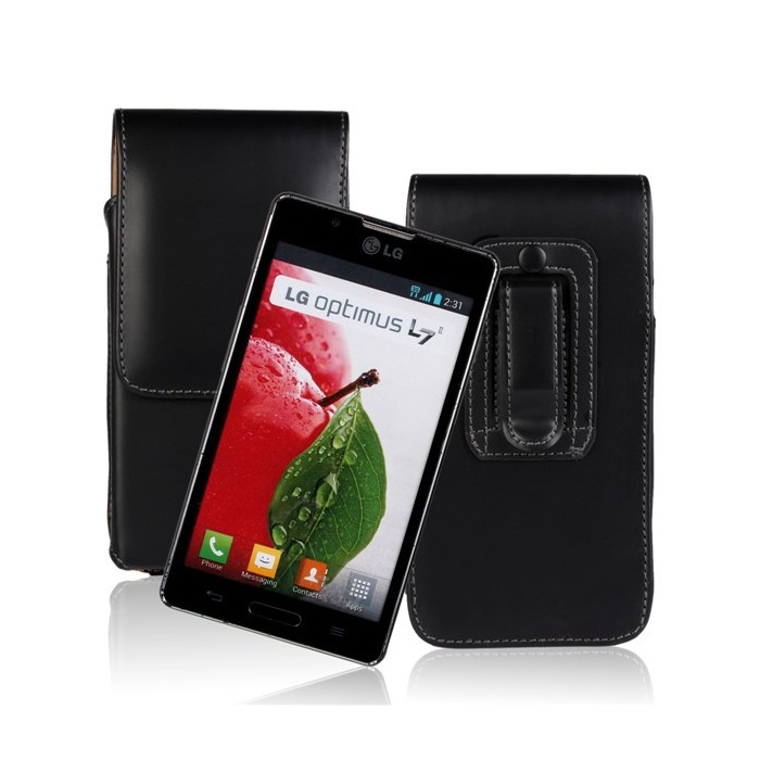 Waist Hanged PU PC Black Flip Leather Case For LG L7 II
