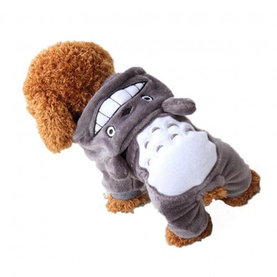 Yani HP-PC1 Pet Cat Dog Costume Soft Warm Clothes Cartoon Totoro Hoodie Coats Four Leg Jumpsuit