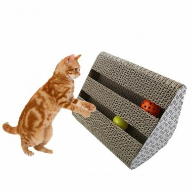 Cat Toy Kitty Scratcher Catnip Scratch Board Incline Scratcher Kitty Toy With Bell Ball