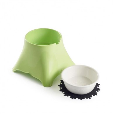 2 in 1 Ceramic Pet Bowl with Food Grade Melamine Stand for Food and Water Bowls with Free Placemat