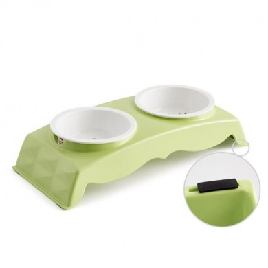 Melamine Pet Bowl for Food and Water Bowls Pet Feeders Double Bowls SetStainless and Ceremic Bowl