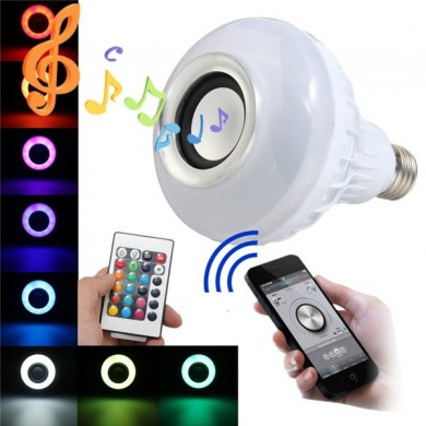 E27 LED RGB Bluetooth Speaker Bulb Wireless 12W Power Music Playing Light Lamp