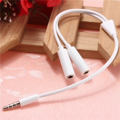 3.5mm Stereo Headphone Audio Mic Male To 2 Female Y Splitter Cable Adapter