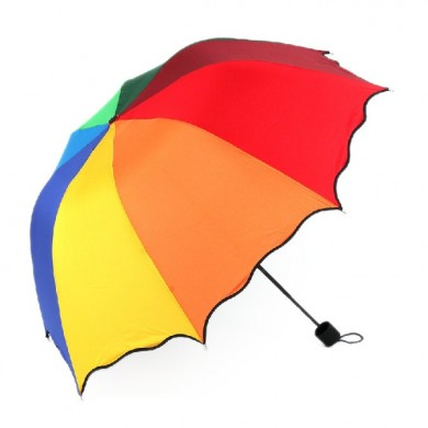 Honana HN-KU5 Multicolor Flouncing Dome Parasol Folding Umbrella Sun Rain Wind para Lady Girls