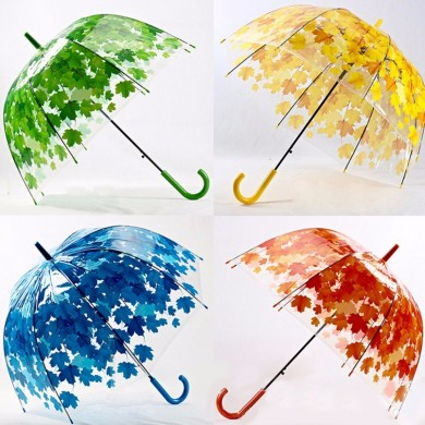 Creative Colorful Parasol Leaves Umbrella Transparent Mushroom Arch Tree Fresh PVC Bubble Rain Gear