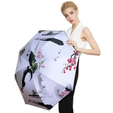 LYZA Pintado à mão Colorful 3 Dobras Rain Umbrella Sun Umbrella Foldable Sunscreen Umbrella