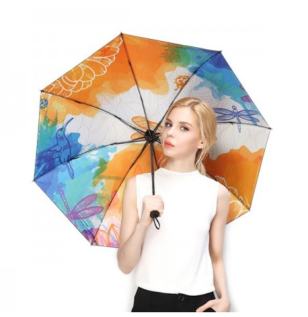 LYZA Hand-painted 3 Folds Rain Umbrella Sunscreen Umbrella Sun Umbrellas Foldable