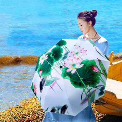 Three Fold Lotus Flower Umbrella Chinese Style Silver Coating Anti-UV Windproof Folding Parasol