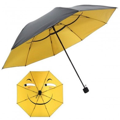 Funny Face Emoji Anti UV Rain Sun Umbrella Folding Compact Girls Boys Umbrella