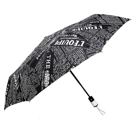 Creative Newspaper Automatic Umbrella Three-folding Umbrella Sunny and Rainy Well Toughness Classic Women Gentle Parasol