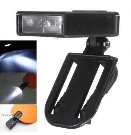 Clip On Cap Light 3 LED Hat Light Lamp Head Torch For Cycling Camping Hiking Fishing