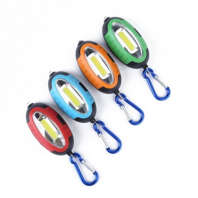 Outdooors COB LED Keychain Lamp Work Light Mini Pocket Torch Money Detector With Carabiner