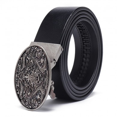 Business Printed Two-Layer Leather Embossed Waist Belt