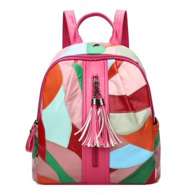 Multi-colors Patchwork PU Leather Backpack