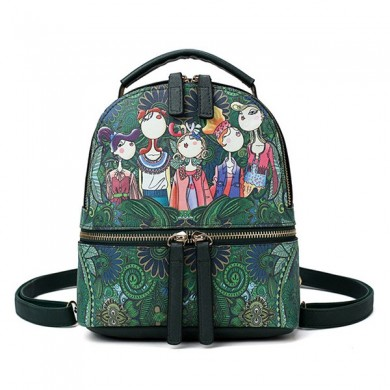 Women Faux Leather Forest Print Pattern Backpack