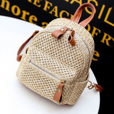 Women Straw Fashion Woven Backpack Travel bag Shoulder Bag