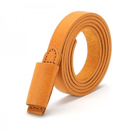 Retro Women Lady PU Leather Narrow Thin Waistband Durable Candy Color Waist Belt