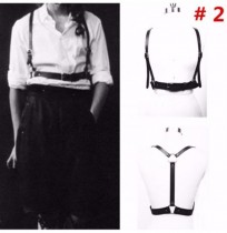 Women Sexy Black Body Harness Synthetic Leather Suspenders Adjustable Harajuku Suspenders