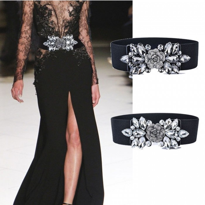 Women Ladies Vintage Wide Rhinestone Elastic Buckle Waist Band Belt Stretch