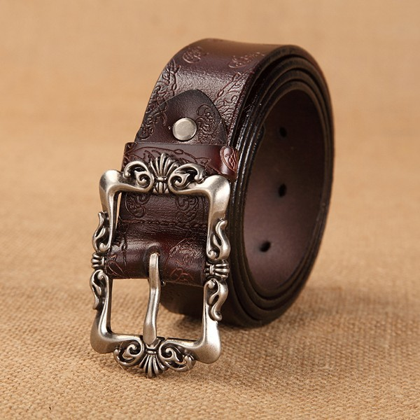Women Vintage Floral Embossed Second Layer Leather Belt Fashion Pin Buckle Strip for Jeans